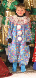 A skater dressed as a clown