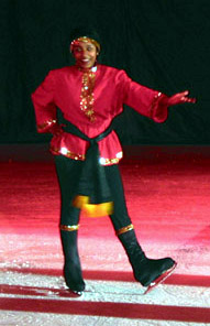 A skater dressed as a russian dancer