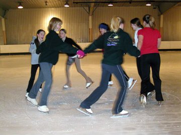 Synchro skaters in a circle