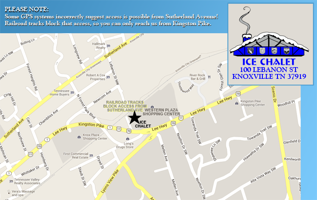 Map Ice Chalet Knoxville TN